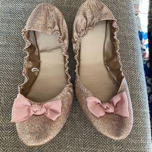 Ny&Co pink glitter bow ballet flats 10